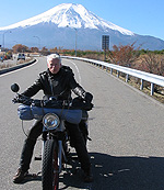 Kim Scholer's bobber-style Nimbus on the road in Japan